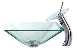 Kraus C-GVS-901-19mm-10CH Clear Aquamarine Glass Vessel Sink and Waterfall Faucet, Chrome