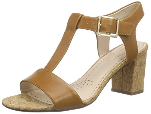 Clarks - Smart Deva, Sandalo da donna, marrone (tan leather), 40