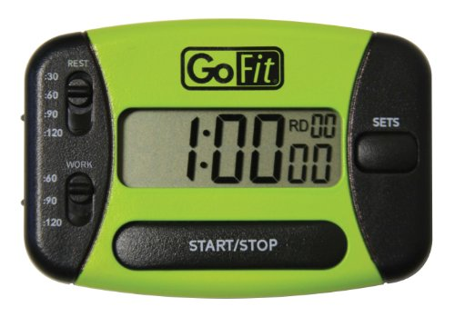 GoFit Go Timer Interval Training Timer in Clamshell Packaging, Green/Black