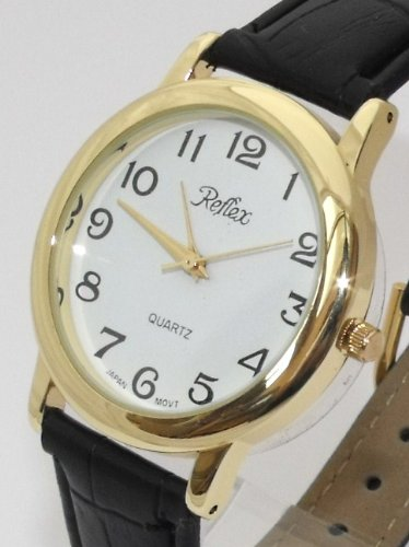 Mens/Gents New Reflex Watch-Gold Case (35mm) White Dial - 21cm Strap (101151GT)