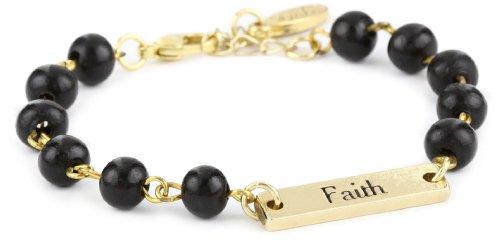 Ettika Gold Colored Faith Statement Plate Wooden Black Beads Bracelet