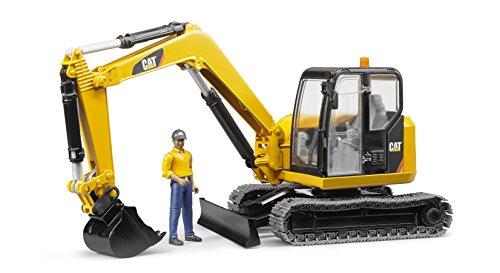 Bruder-02466-Cat-Minibagger-mit-Bauarbeiter