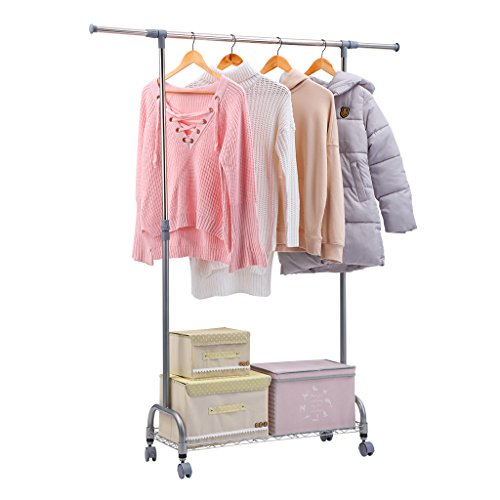 Rackaphile Adjustable Commercial Grade Rolling Garment Rack with Bottom Mesh Shelf and Omni-directional Wheels