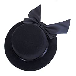 Imported Ladies Mini Top Hat Fascinator Burlesque Millinery w/ Bowknot - Black