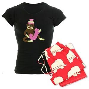 CafePress Sock Monkey Monogram Girl J Women's Dark Pajamas Women's Dark Pajamas