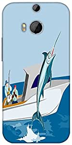 Snoogg Blue Marlin Fish Jumping Retro Designer Protective Back Case Cover For HTC M8