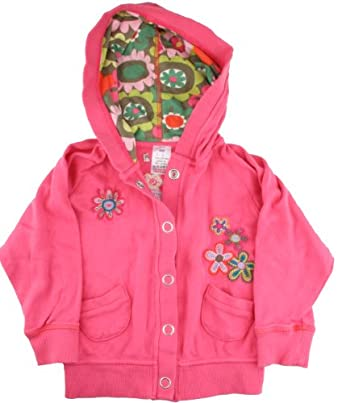 Ex-Store Girls Pink Embroidered Hoodie Jacket 2-3