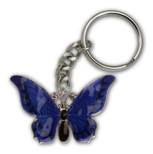 IceCarats® Designer Jewelry Silver Plate Butterfly Keychain 1 3/8 X 2 1/8 Inch
