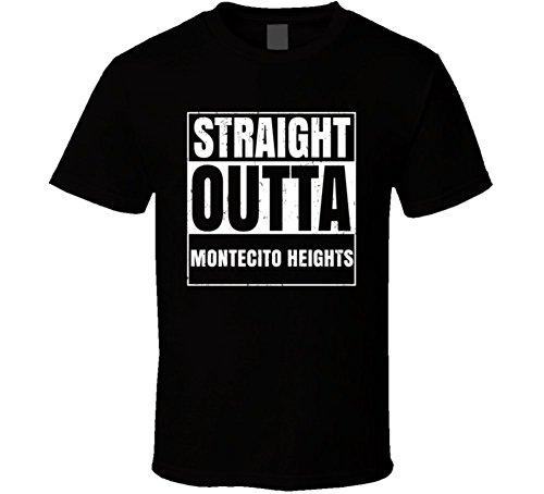 Straight Outta Montecito Heights City US Neighbourhood USA Parody T Shirt 2XL Black