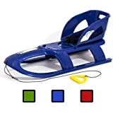 Long 2 person BULLET SEAT kid sledge with metal runners and rope + safe removable backrest, 3 colours