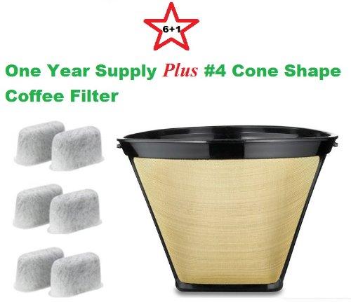 Permanent 750.09, #4, 053, Cone Shape Gold Tone Coffee Filter fits Capresso, Krups, & Delonghi ...