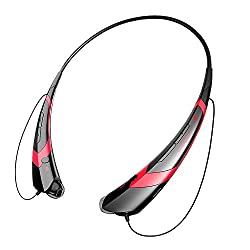 Eonstyle Hbs-760 Universal Headset Headphone Wireless Bluetooth 4.0 Music Stereo Vibration Neckband Style Sport Headset for Iphone Ipad Samsung Lg and Other Smartphone (HBS-760 black+red)
