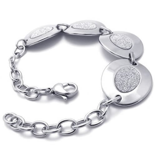 Konov Jewellery Women's Oval Stainless Steel Charm Bracelet, Colour Silver (with Gift Bag)