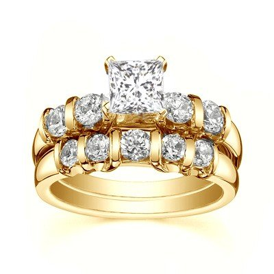 0.58 Carat Engagement Ring Sets Princess Cut Diamond on 18K Yellow gold