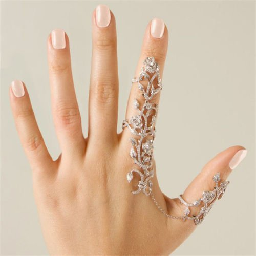 Happy Hours - Women's Jewelry Adjustable Plating Rose Rings / Multiple Finger Stack Knuckle Band Hollow Bling Ring Crystal Set(Sliver)