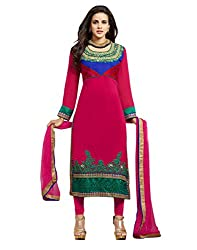 Lookslady Embroidered Magenta Georgette Semi Stitched Salwar Suit