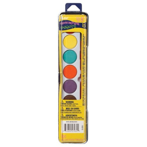 Art Wall Darice Watercolor Paint Set with Brush, 8 Colors