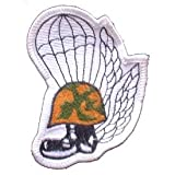 USMC Marine Corps Military Embroidered Iron On Patch - Marine Helmut w/ Boot Parachute Trooper & Wings Applique