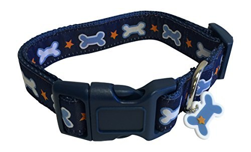 top-paw-dog-collar-medium-neck-size-14-18-dog-bone-charm-stars-by-top-paw