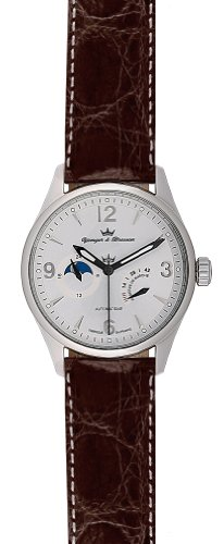 Yonger and Bresson Men's YBH 8314-04 C Automatic Brown Calfskin Moonphase Watch