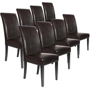 Lot ensemble de 8 chaises pour salle manger salon en cuir marron amazon - Soldes chaises salle a manger ...