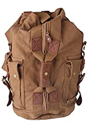 Kattee Canvas Military Style Large Backpack Hiking Camping Travel Bag