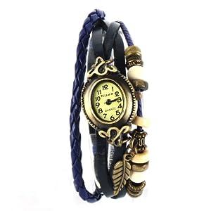 Yesurprise Montre quartz Vintage Avec pendentif Feuille Knitted Bracelet en cuir Bleu foncé