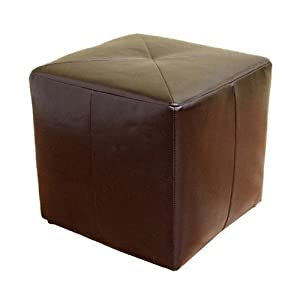 Baxton Studio Lave Cube-Shaped Brown Bonded-Leather Ottoman