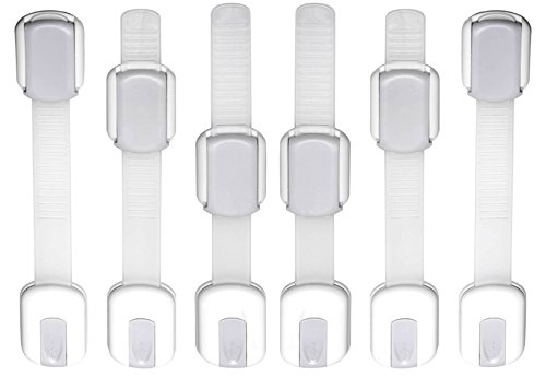 WONDERKID Top Quality Adjustable Child Safety Locks - Latches to Baby Proof Cabinets & Appliances. FREE BONUS, Authentic 3M Adhesive, Eco-Friendly Package, Lifetime Replacement. White-Silver, 6 pack (Safety First Appliance Latch compare prices)