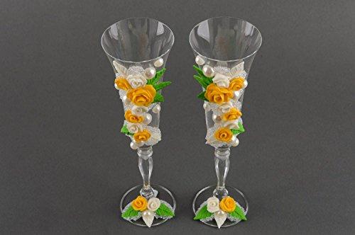 Verres à champagne fait main Vaisselle en verre Cadeau mariage 2 pcs design