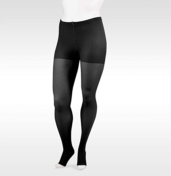 Juzo Soft 2002 30-40mmhg Open Toe Compression Pantyhose (Color: Black, Tamaño: 3 (III) Short)