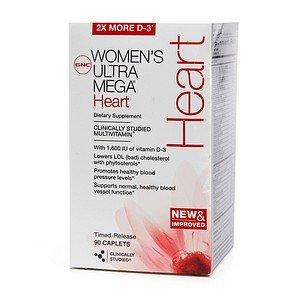 Gnc Women'S Ultra Mega Heart Multivitamin, Caplets 90 Ea