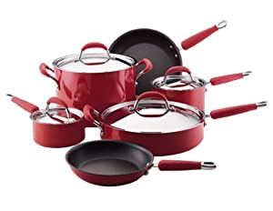 Kitchenaid gourmet essentials 10 piece hard base porcelain aluminum nonstick - Kitchenaid aluminum nonstick piece cookware set ...