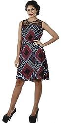 Difneez Women's Poly-crepe A-Line Dress(aline-dress-mul001_Multicolor_Large)