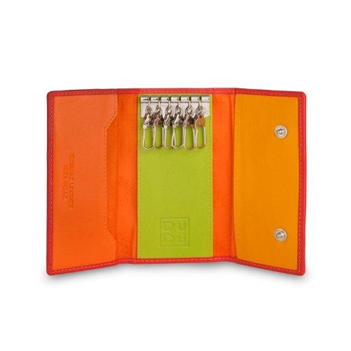 Portachiavi classico in pelle Multicolore a 6 ganci firmato DUDU Rosso