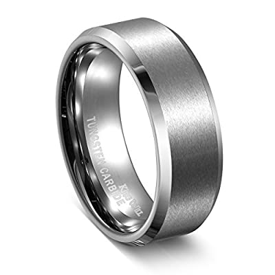 Sale! King Will Tungsten Carbide Ring Matte Polished Finish Beveled Edge Mens Wedding Engagement Band