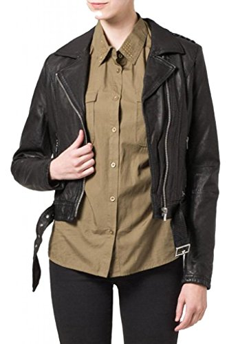 KGN FASHION Women Leather Jacket WL102 S Black