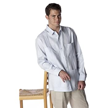 French Cuffs Guayabera Long Sleeve Shirt.