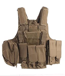 Ultimate Arms Gear Tactical Desert Tan Carrier Military Hunting Vest With MOLLE Web... by Ultimate Arms Gear