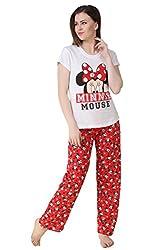Brand Me Up women Red Minniee pyjama night suit set round neck cap sleeve night suit set - L size (Red)