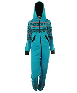 GG Womens Lusia Aztec Print Unisex Ladies Jumpsuit- Turq ML 8-10