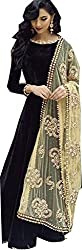 SK Fashion Women's Black Velvet Anarkali Unstitched Salwar Suit Dress Material (Dress_202_FreeSize_Black-Cream)