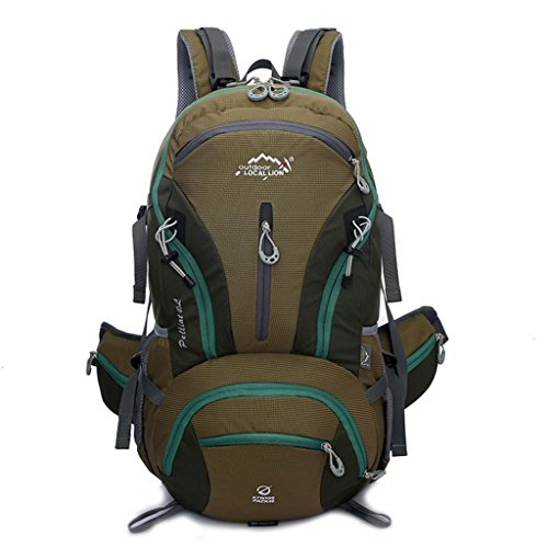 Local Lion Outdoor Sports Hiking Daypack Camping Backpack School Bag Unisex, Army Green