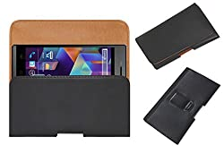 Acm Belt Holster Leather Case For Karbonn Titanium S25 Klick Mobile Cover Holder Clip Magnetic Closure Black