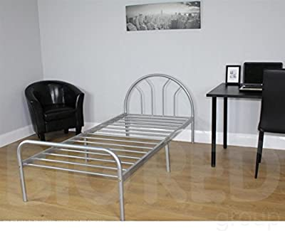 Single Silver Metal Bed - 3ft / 90 cm Frame - Children Bed