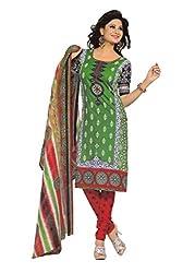 Araham Green Printed 100% Cotton Unstitched Salwar Suit Dress Material
