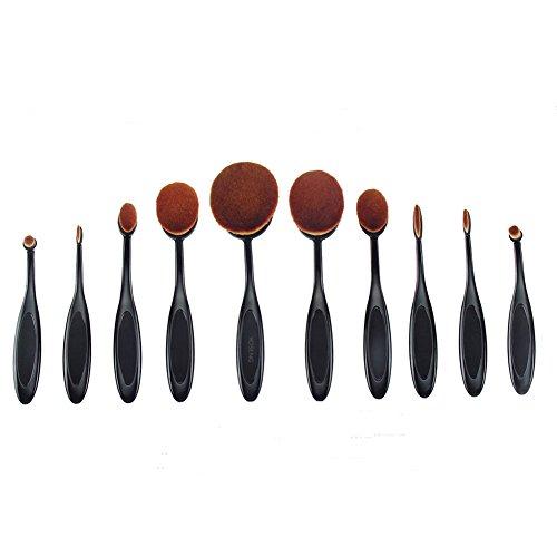 Yoseng 10 Pcs New fashionable Super Soft Oval Toothbrush Makeup Brush Set Foundation Brushes Contour Powder Blush Conceler Brush Makeup Cosmetic Tool Set Black Rose Golden (Black)
