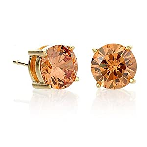 6.5mm Stud Simulated Champagne Diamond Earring Gold Satin Finish