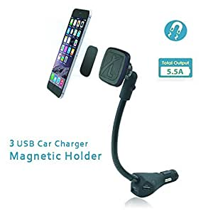 Magnetic Car Mount, Leebotree Car Mount Holder with 3 USB Car Charger (DC5V, 2.1A/2.4A/1A) for iPhone 6s, 6, Samsung Galaxy S6, S6 Edge, Sony, Moto, LG G3, G4 and Other Smartphones (Upgrade Version)