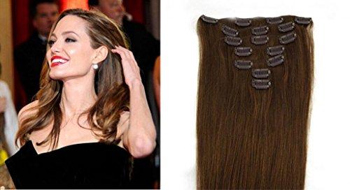RemyHair Clip-In-Extensions fur komplette Haarverlangerung hochwertiges Remy-Echthaar 38CM 16clips 70g#6 Kastanienbraun
